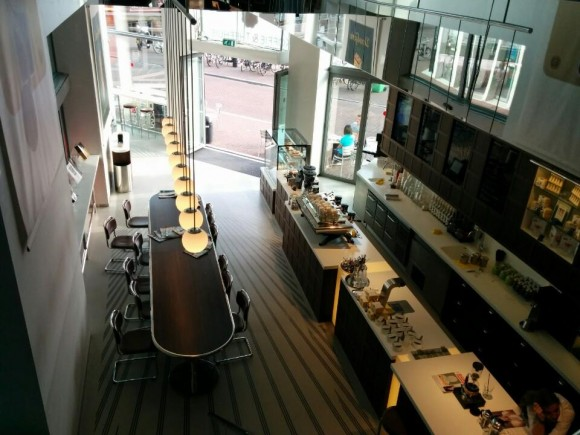 A look down at the main floor and community tables.