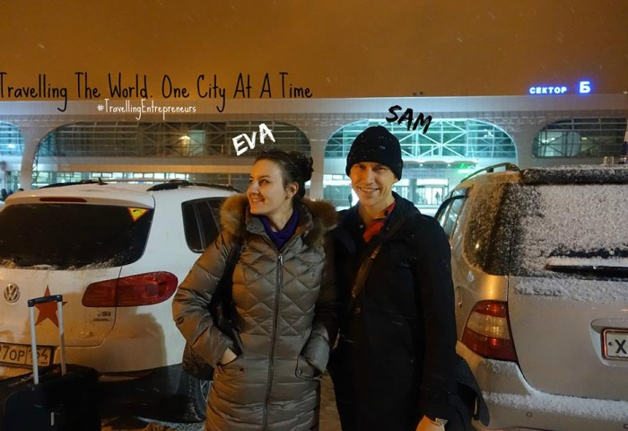 Photo of Eva Maria and Sam Bakker, the TravellingEntrepreneurs, at Tolmachevo Airport in Novosibirsk, Russia